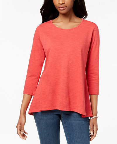 Style & Co Petite Cotton Peplum-Back Tunic, Created for Macy's