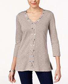 JM Collection Cotton Grommet-Laced Tunic, Created for Macy's