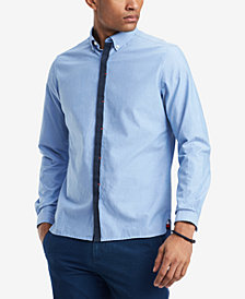Tommy Hilfiger Men's Saxon Custom-Fit Hidden-Placket Oxford Shirt, Created for Macy's