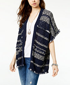Lucky Brand Striped Fringe Poncho
