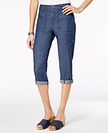 Style & Co Petite Cuffed Cargo Capri Pants, Created for Macy's