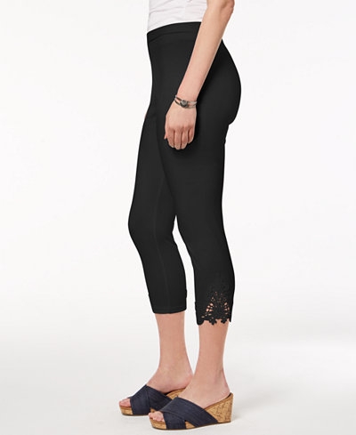 Style & Co Mid-Rise Crochet-Lace Leggings, Created for Macy's