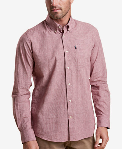 Barbour Men's Austin Tailored-Fit Red Micro-Houndstooth Pocket Shirt