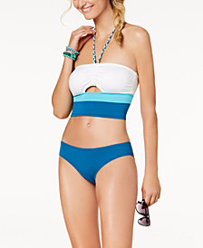 Vince Camuto Colorblocked Halter Bikini Top & Cheeky Bottoms