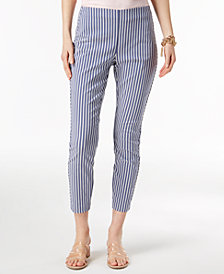 I.N.C. Petite Mixed-Stripe Cropped Skinny Pants, Created for Macy's