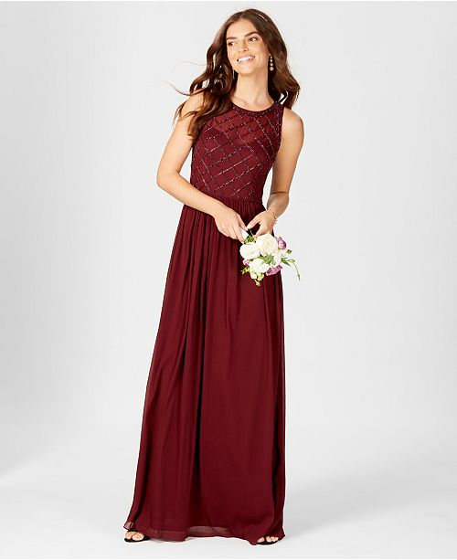 5a9e09671730 Adrianna Papell Beaded A-Line Gown & Reviews - Dresses - Women - Macy's