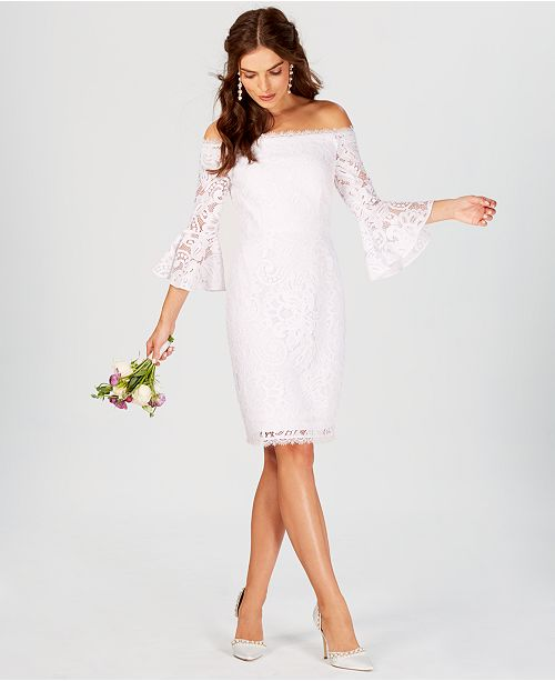 6f604c13994f3 Adrianna Papell Off-The-Shoulder Lace Bell-Sleeve Dress   Reviews ...