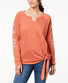 Style & Co Embroidered Tie-Hem Top, Created for Macy's