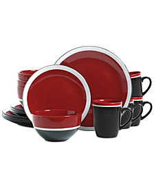 Gibson Color Eclipse Red 16-Pc. Dinnerware Set, Service for 4