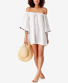 STUDIO Anne Cole Denim Days Off-The-Shoulder Cover-Up