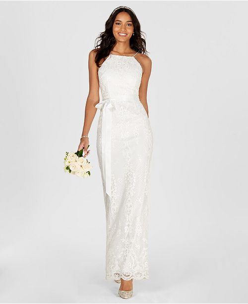 Halter Column Papell Adrianna Ivory Gown Lace T8EAZw4x