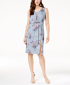 Love Scarlett Petite Printed Draped-Front Sleeveless Dress