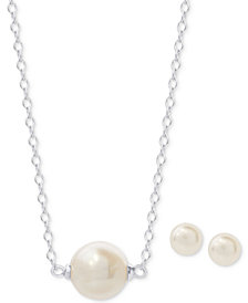 "2-Pc. Set Freshwater Pearl (10 & 7mm) 18"" Pendant Necklace and Stud Earrings in Sterling Silver"