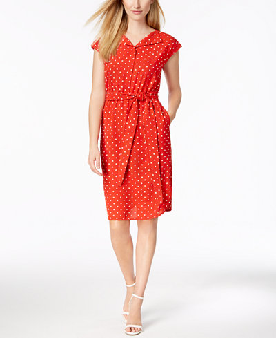 Anne Klein Belted Dot-Print Shirtdress