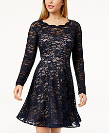Sequin Hearts Juniors' Glitter Lace Fit & Flare Dress