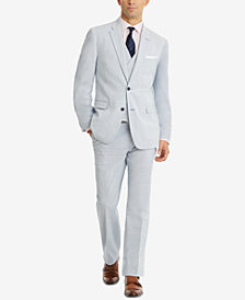 CLOSEOUT! Tommy Hilfiger Men's Modern-Fit THFlex Stretch Blue/White Stripe Seersucker Suit Separates
