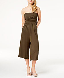 Emerald Sundae Juniors' Strapless Gaucho Jumpsuit