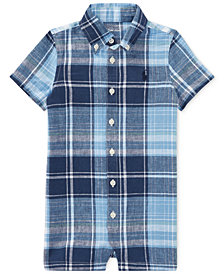 Polo Ralph Lauren Plaid Romper, Baby Boys