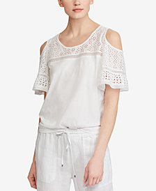 Lauren Ralph Lauren Cold-Shoulder Embroidered Lace-Trim Top