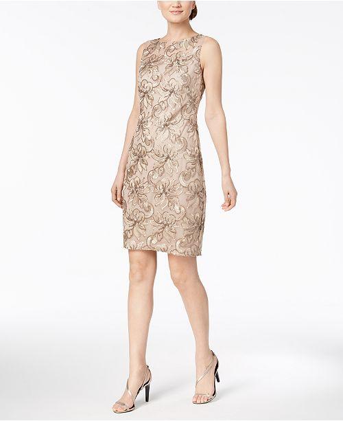 e2016c9524da Calvin Klein Embroidered Sheath Dress  Calvin Klein Embroidered Sheath Dress  ...