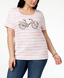 Karen Scott Plus Size Bicycle Graphic T-Shirt, Created for Macy's