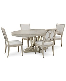 Rachael Ray Cinema Oval Dining 5-Pc. Set (Expandable Dining Table & 4 Upholstered Side Chairs)