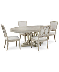 Rachael Ray Cinema Round Dining Furniture, 5-Pc. Set (Expandable Dining Table & 4 Upholstered Side Chairs)