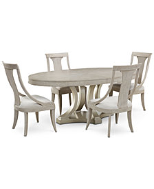 Rachael Ray Cinema Round Dining Furniture, 5-Pc. Set (Expandable Dining Table & 4 Sling Back Chairs)