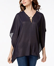 MICHAEL Michael Kors Foil-Dot O-Ring Poncho Top,a Macy's Exclusive Style