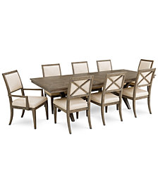 Bridgegate Rectangular Expandable Dining Furniture, 9-Pc. Set (Dining Table, 6 Upholstered Back Side Chairs & 2 Upholstered Back Arm Chairs)