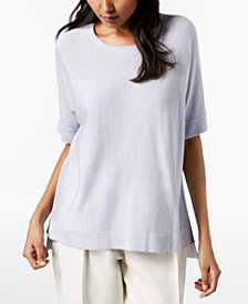 Eileen Fisher Tencel® High-Low Elbow-Sleeve Sweater