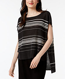 Eileen Fisher Organic Linen Striped High-Low Poncho Sweater