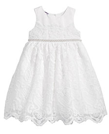 Blueberi Boulevard Embellished-Waist Lace Dress, Little Girls (4-6X)