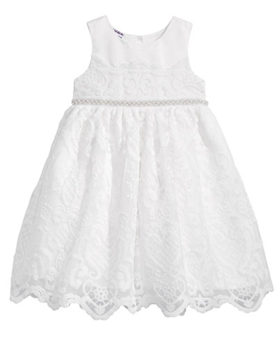 Blueberi Boulevard Embellished-Waist Embroidered Dress, Toddler Girls
