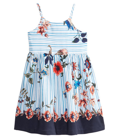 Bonnie Jean Striped Floral-Print Dress, Little Girls
