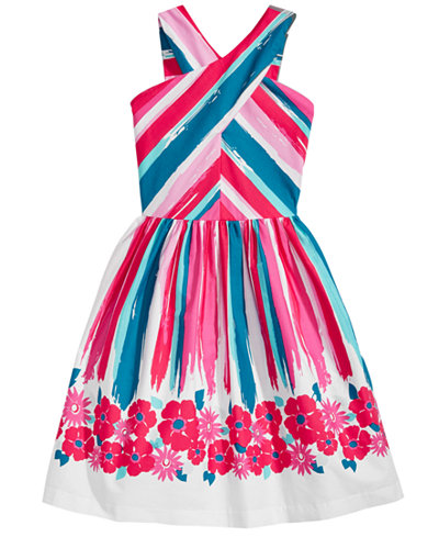 Bonnie Jean Cross-Neck Border-Print Dress, Big Girls