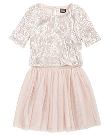 Pink & Violet 2-Pc. Sequin Top & Mesh Skirt Set, Big Girls