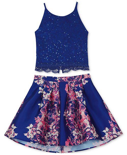 BCX 2-Pc. Lace Camisole & Floral-Print Skirt Set, Big Girls