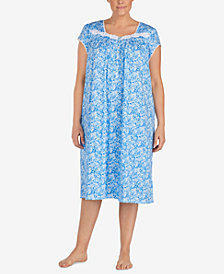 Eileen West Waltz Plus Size Venise-Lace Knit Nightgown