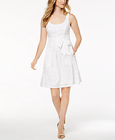 Nine West Belted Jacquard Fit & Flare Dress