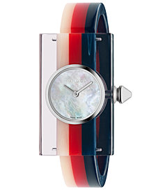 Gucci Women's Swiss Plexiglas Transparent Bangle Bracelet Watch 24x40mm