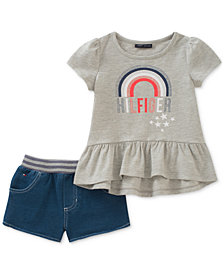Tommy Hilfiger 2-Pc. Peplum T-Shirt & Knit Denim Shorts Set, Little Girls