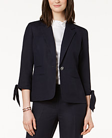 Nine West One-Button Tie-Sleeve Blazer