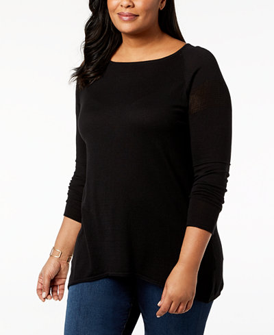 Belldini Plus Size Mesh-Back Top