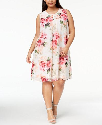 Calvin Klein Plus Size Floral-Print Trapeze Dress