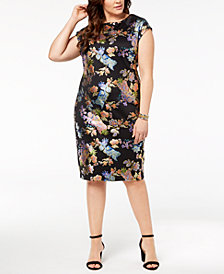 ECI Plus Size Floral-Print Sheath Dress