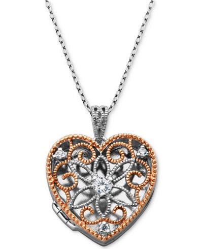 Giani Bernini Cubic Zirconia Openwork Filigree Heart Locket 18