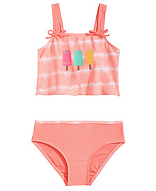 Summer Crush 2-Pc. Tie-Dyed Popsicle Tankini, Toddler Girls