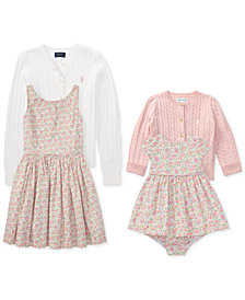 Ralph Lauren Baby Girls, Toddler Girls & Big Girls Cable Cardigan & Floral-Print Dress