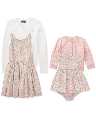 Ralph Lauren Baby Girls, Toddler Girls & Big Girls Cable Cardigan & Floral-Print Dress